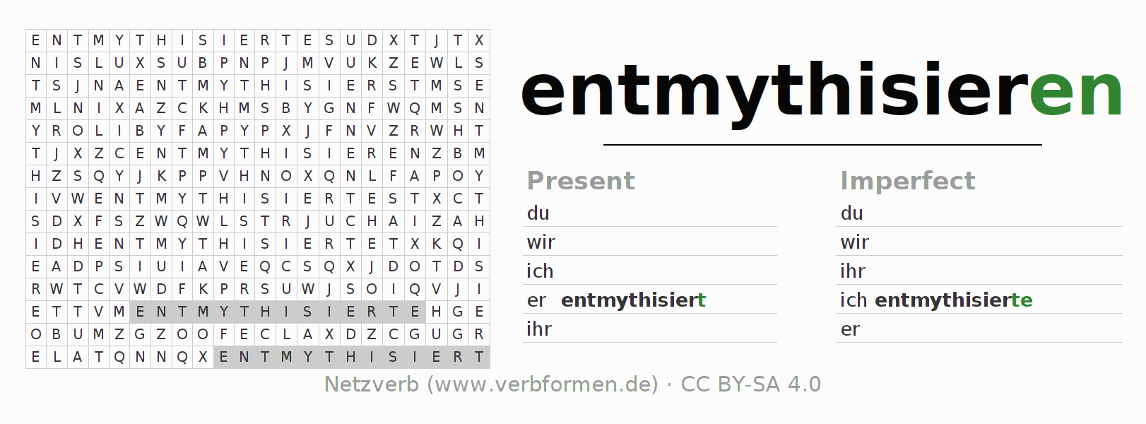 Word search puzzle for the conjugation of the verb entmythisieren