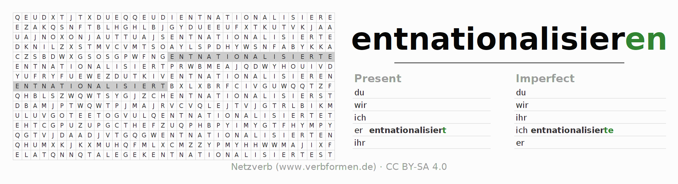 Word search puzzle for the conjugation of the verb entnationalisieren