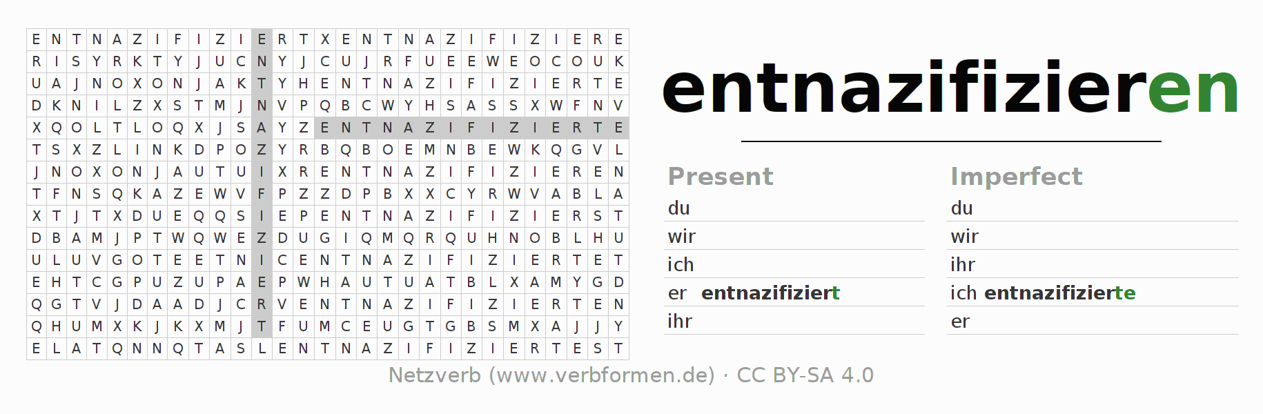 Word search puzzle for the conjugation of the verb entnazifizieren