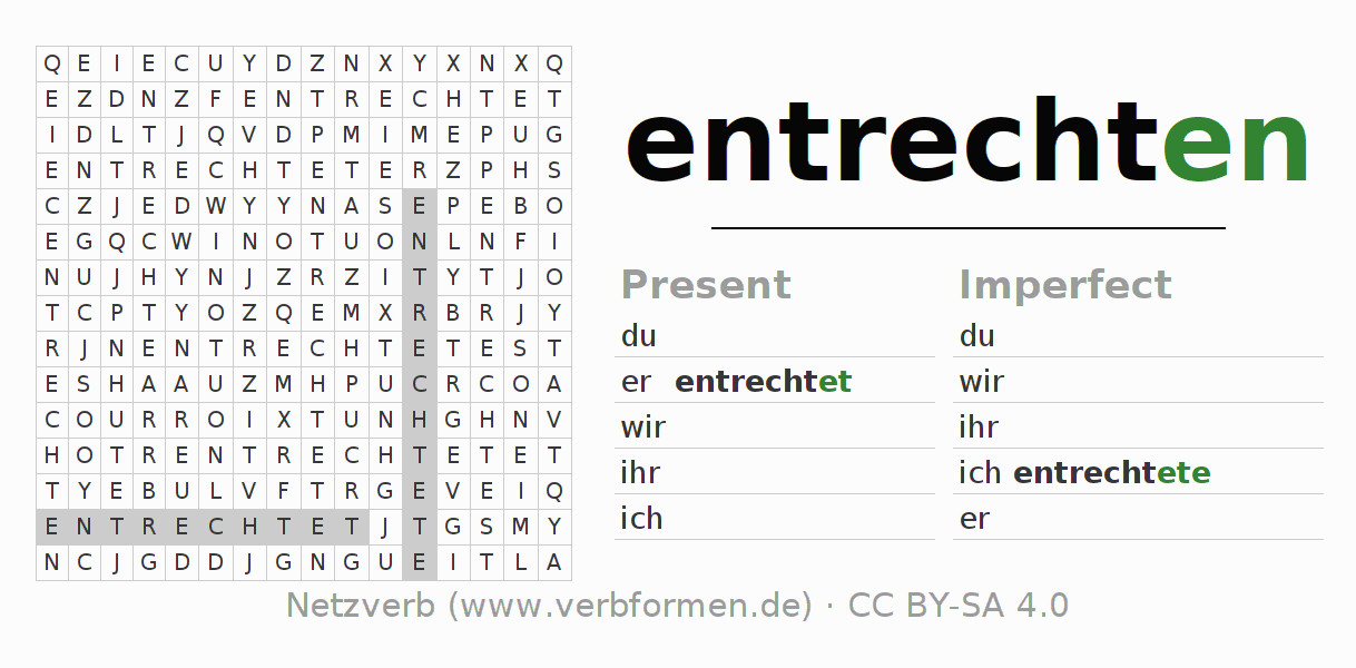 Word search puzzle for the conjugation of the verb entrechten