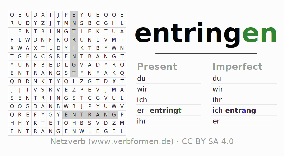 Word search puzzle for the conjugation of the verb entringen