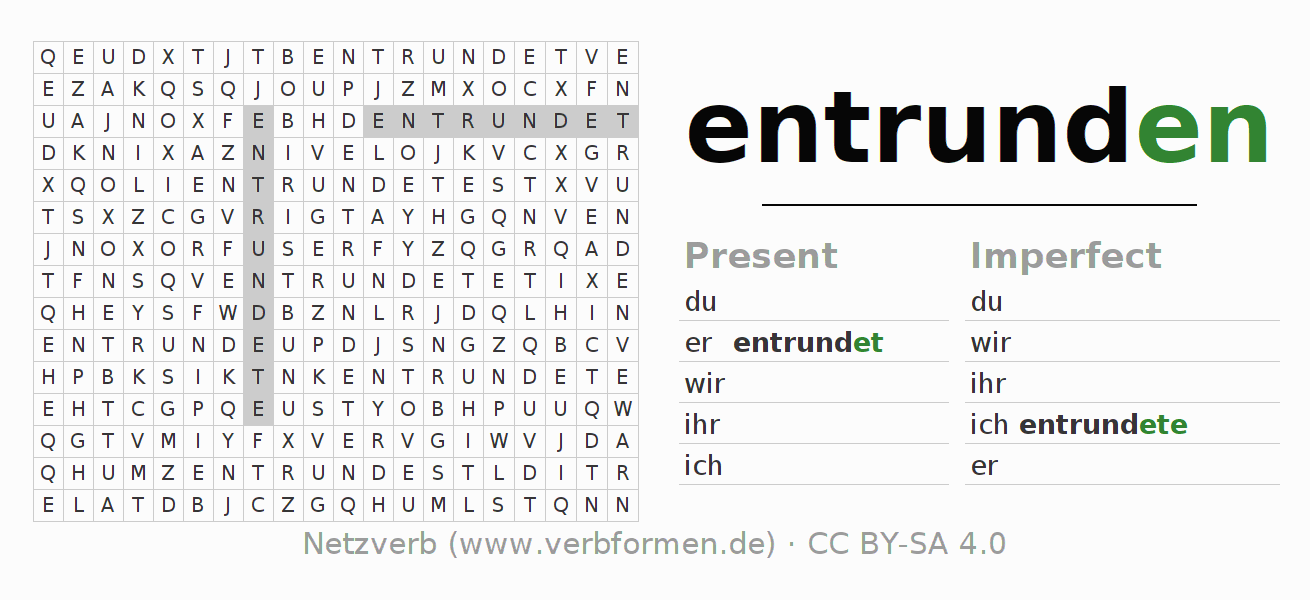 Word search puzzle for the conjugation of the verb entrunden