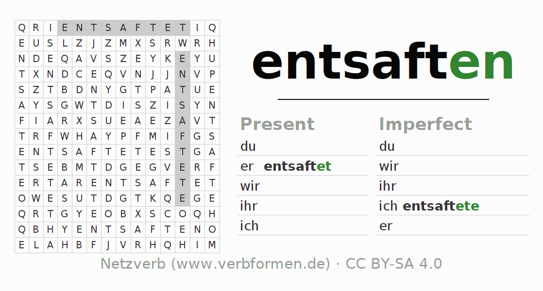 Word search puzzle for the conjugation of the verb entsaften