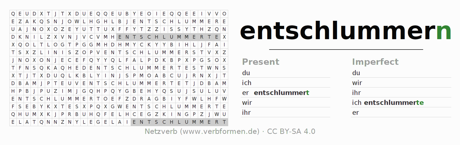 Word search puzzle for the conjugation of the verb entschlummern