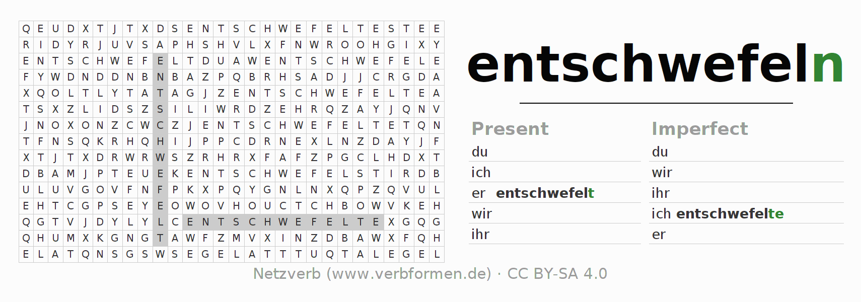Word search puzzle for the conjugation of the verb entschwefeln