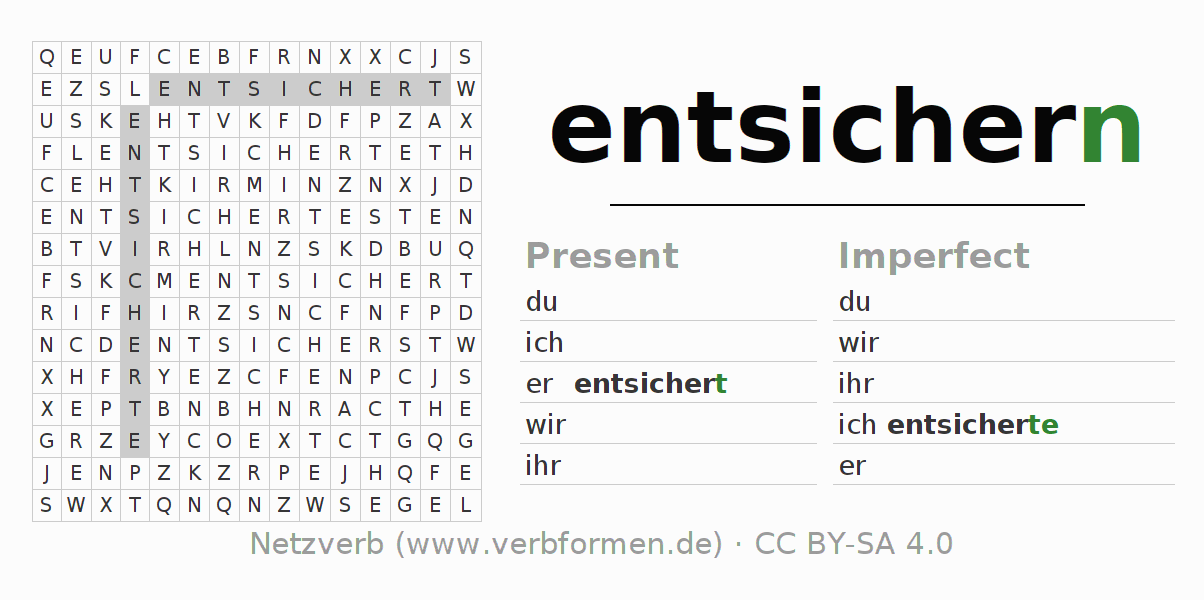 Word search puzzle for the conjugation of the verb entsichern