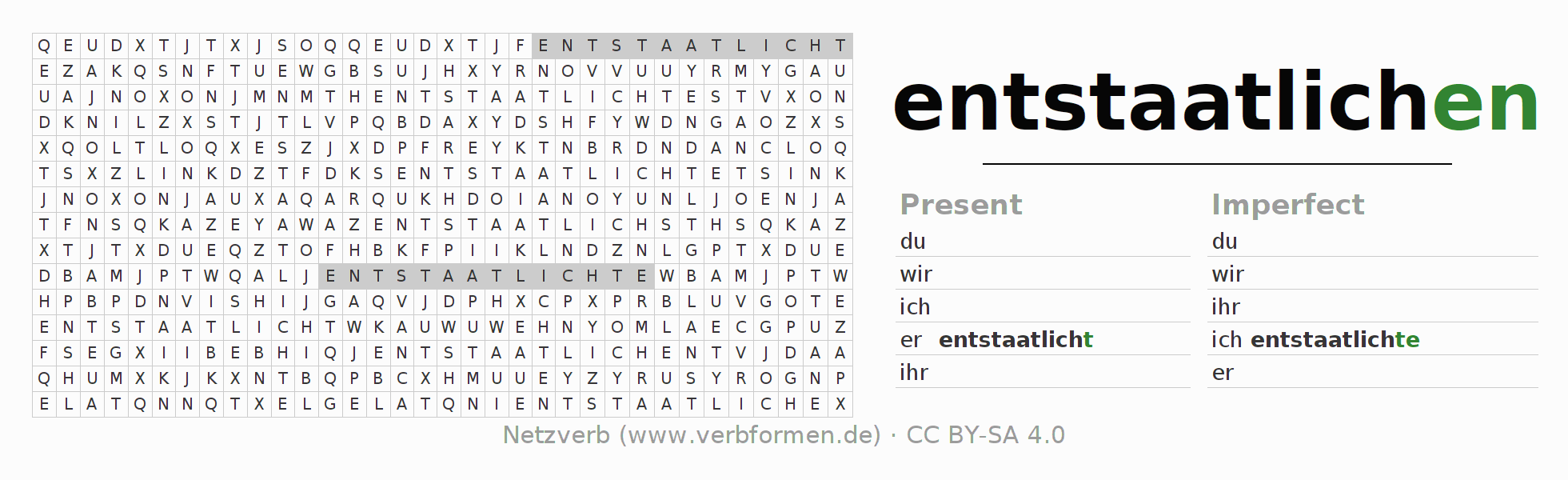 Word search puzzle for the conjugation of the verb entstaatlichen