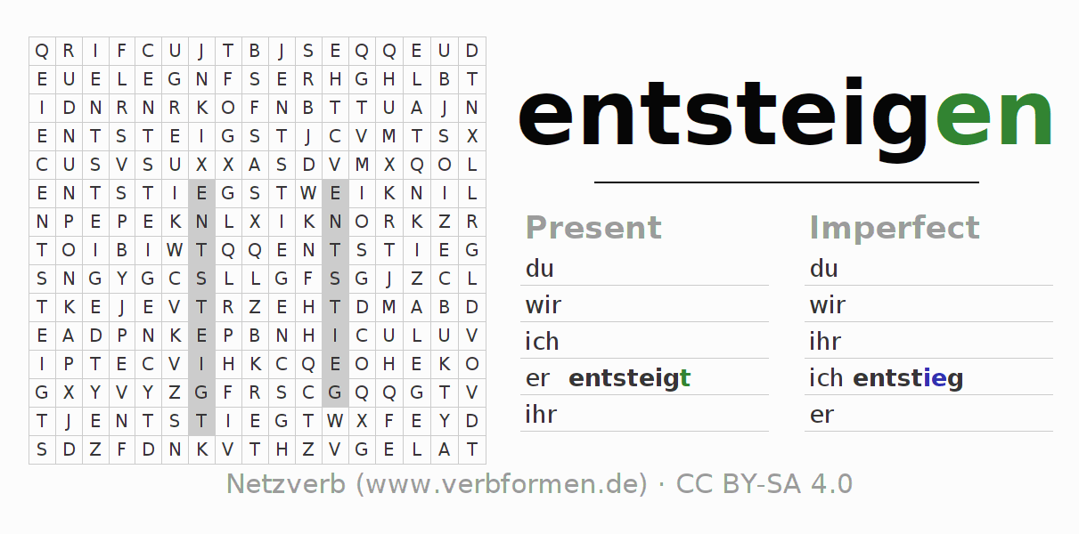 Word search puzzle for the conjugation of the verb entsteigen