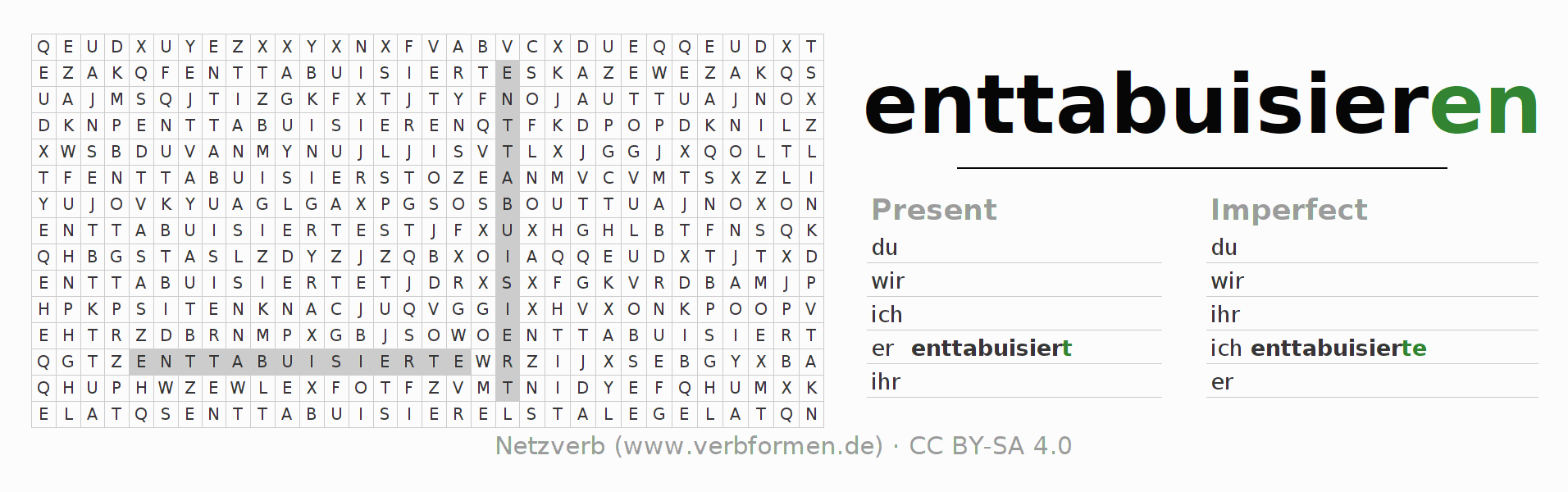 Word search puzzle for the conjugation of the verb enttabuisieren