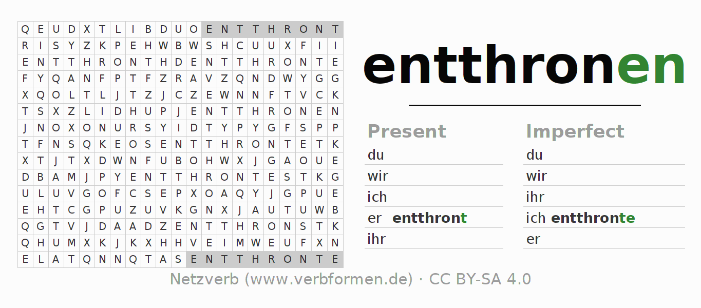 Word search puzzle for the conjugation of the verb entthronen