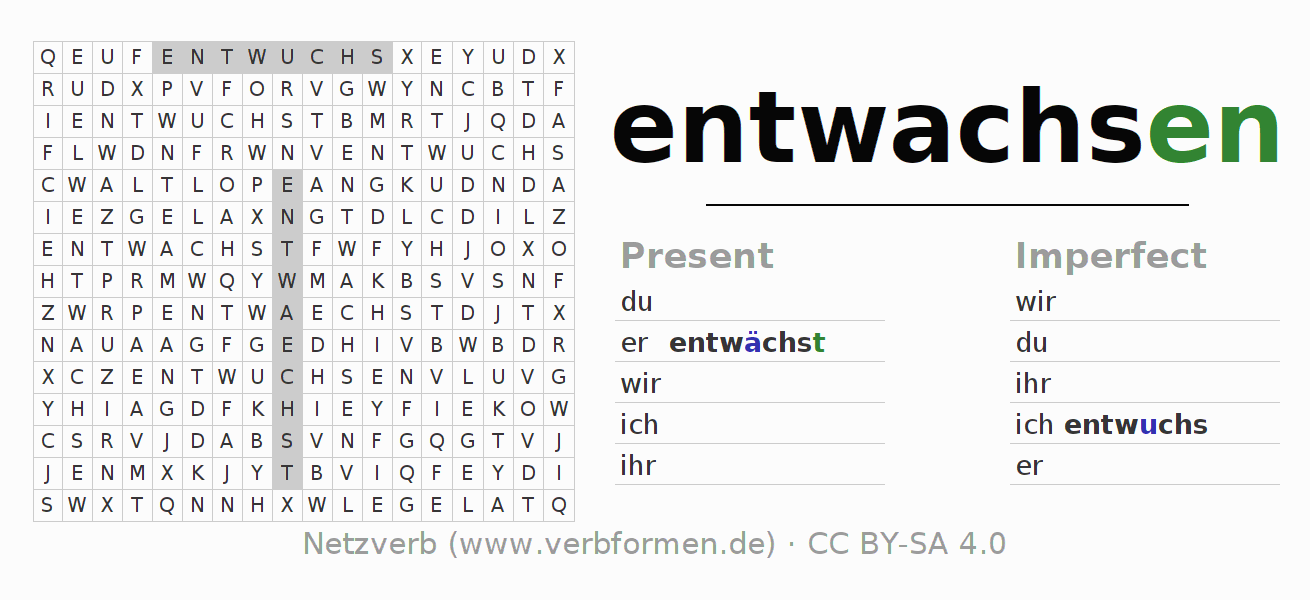 Word search puzzle for the conjugation of the verb entwachsen