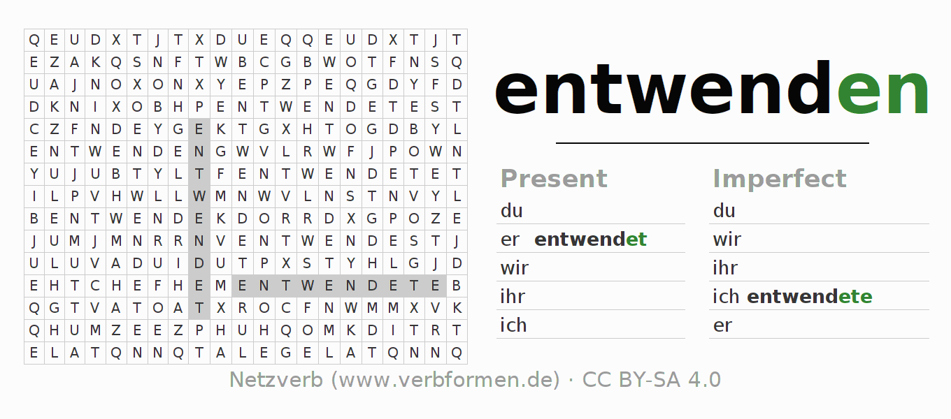 Word search puzzle for the conjugation of the verb entwenden