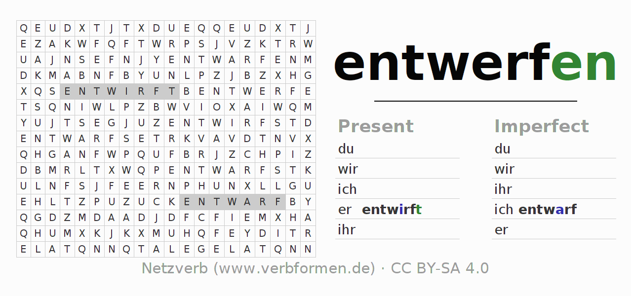 Word search puzzle for the conjugation of the verb entwerfen