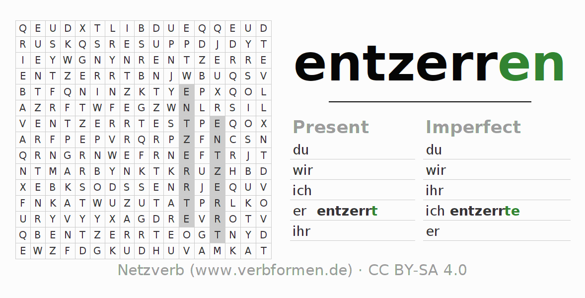 Word search puzzle for the conjugation of the verb entzerren