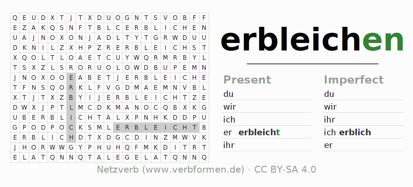 Word search puzzle for the conjugation of the verb erbleichen (unr)