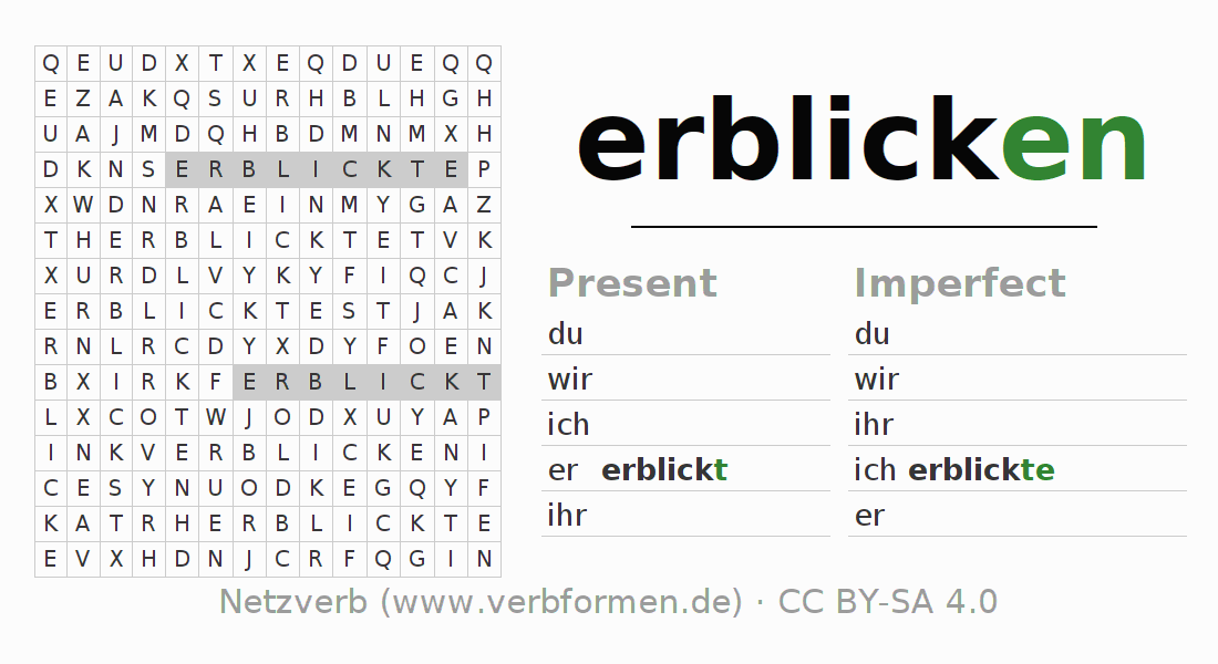 Word search puzzle for the conjugation of the verb erblicken