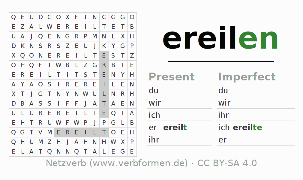 Word search puzzle for the conjugation of the verb ereilen
