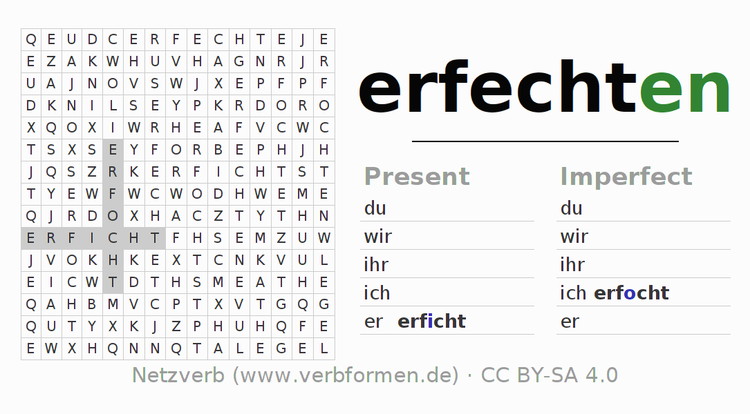 Word search puzzle for the conjugation of the verb erfechten