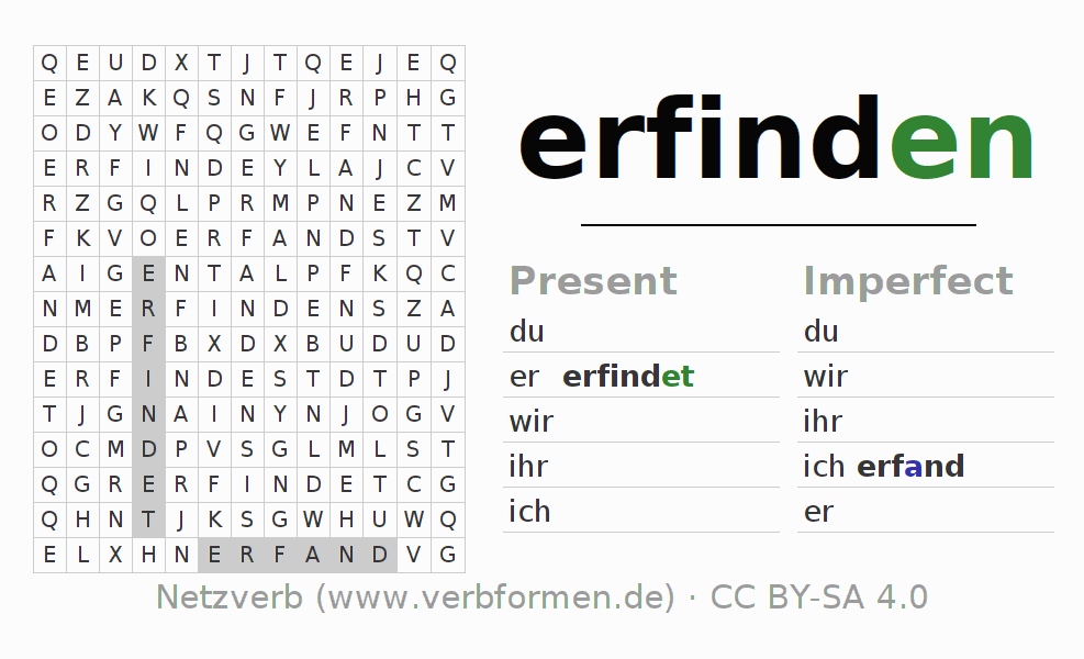 Word search puzzle for the conjugation of the verb erfinden