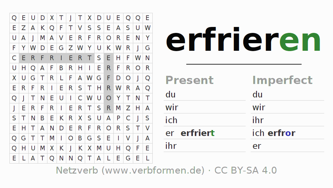 Word search puzzle for the conjugation of the verb erfrieren (ist)