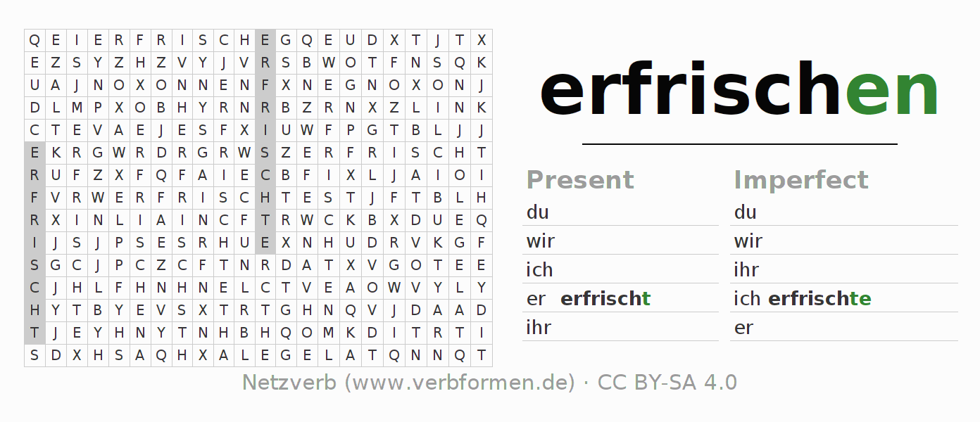 Word search puzzle for the conjugation of the verb erfrischen
