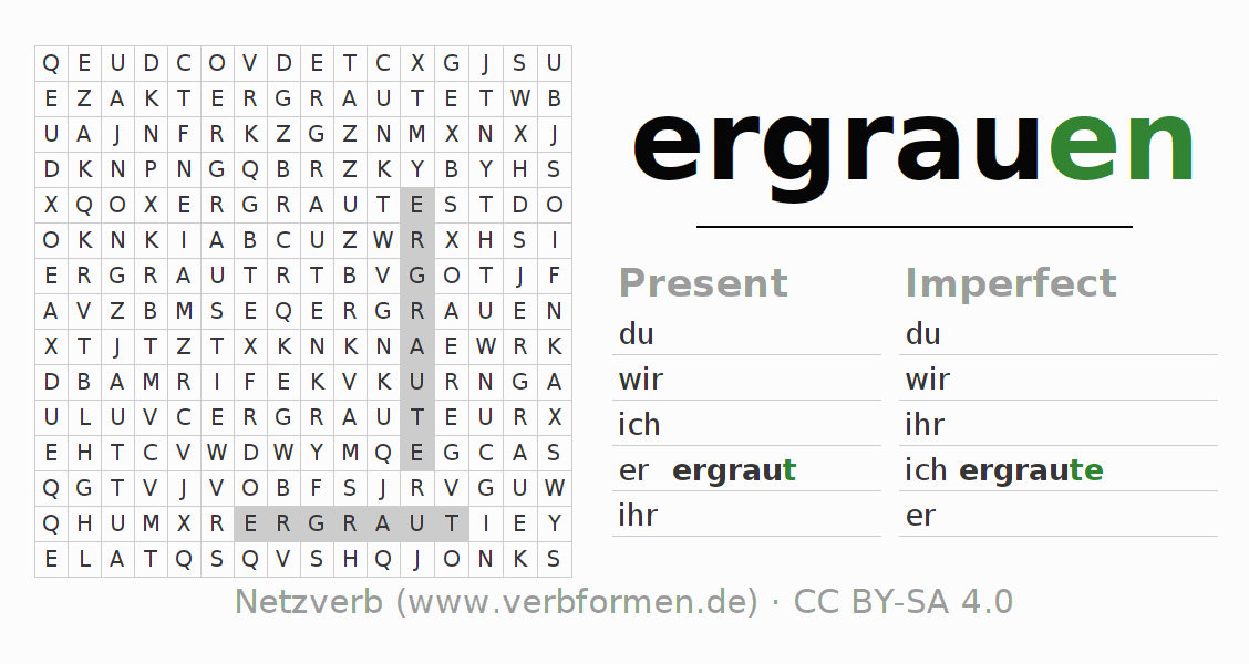 Word search puzzle for the conjugation of the verb ergrauen