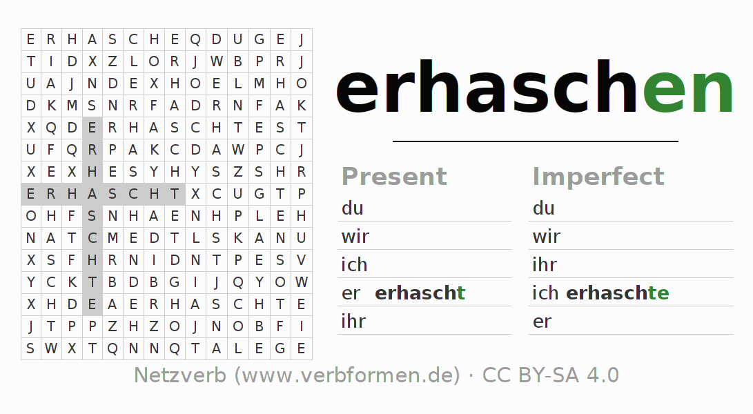 Word search puzzle for the conjugation of the verb erhaschen