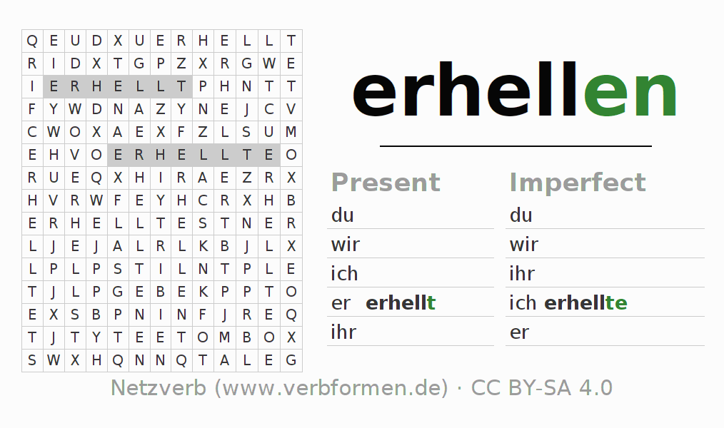 Word search puzzle for the conjugation of the verb erhellen