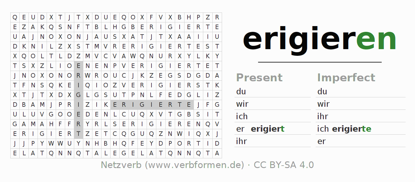 Word search puzzle for the conjugation of the verb erigieren