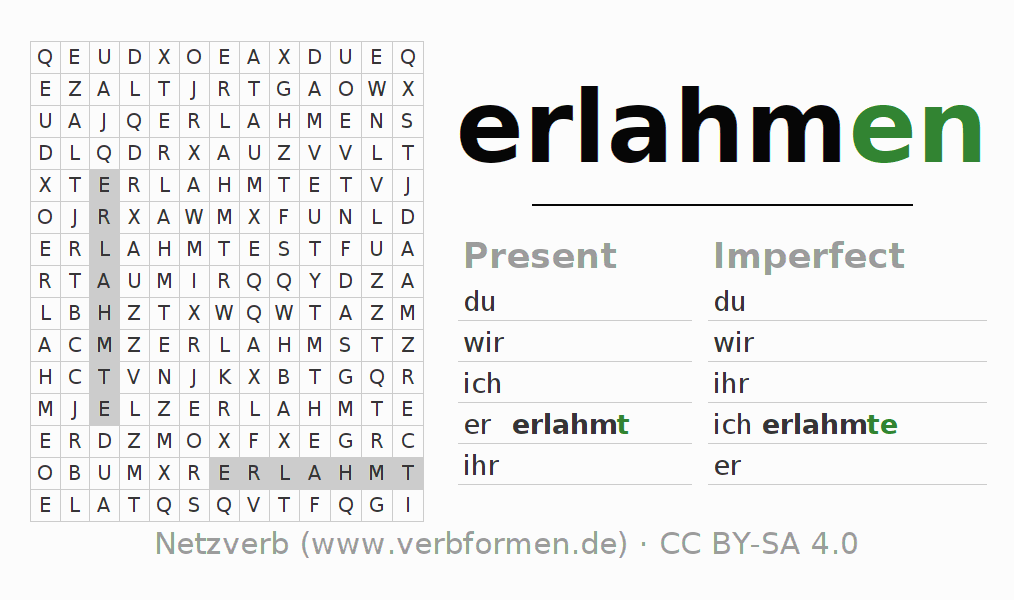 Word search puzzle for the conjugation of the verb erlahmen