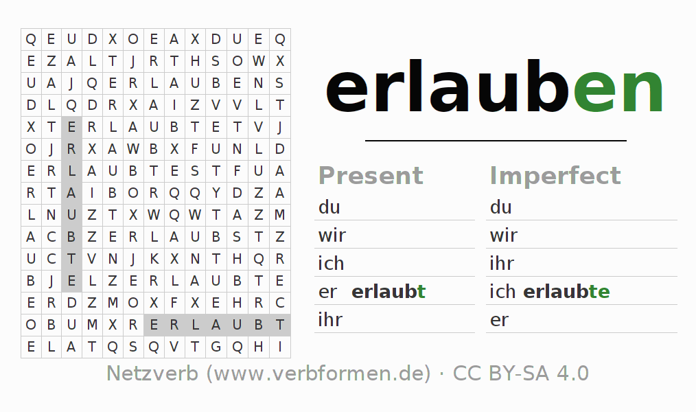 Word search puzzle for the conjugation of the verb erlauben