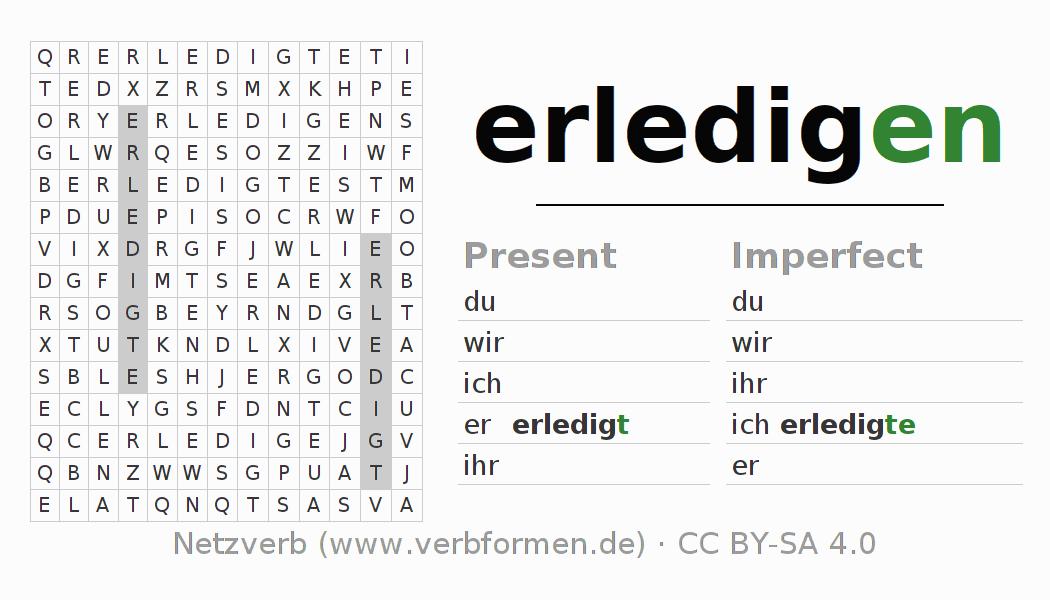 Worksheets Verb Erledigen Exercises For Conjugation Of German