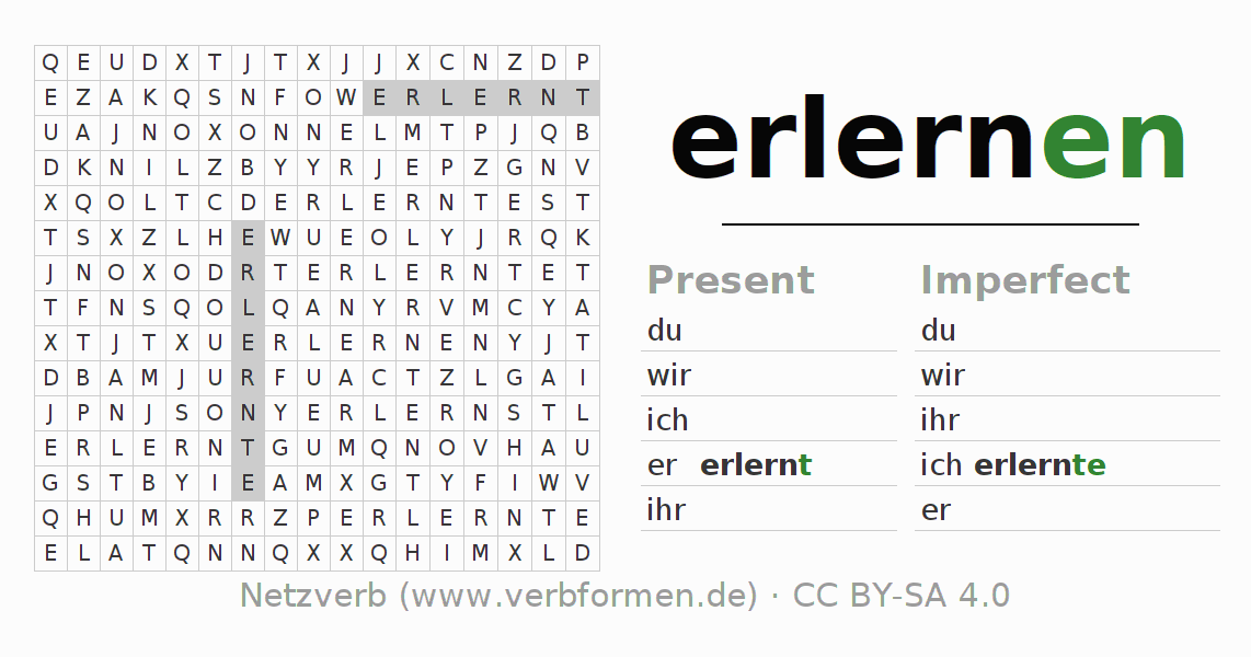 Word search puzzle for the conjugation of the verb erlernen