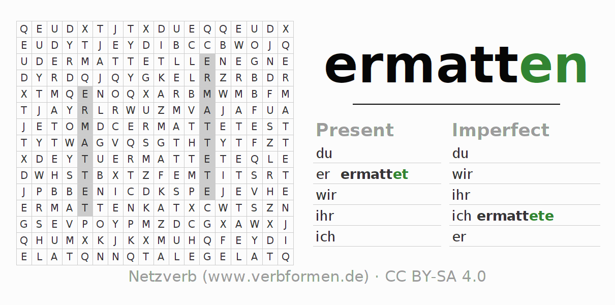 Word search puzzle for the conjugation of the verb ermatten (hat)
