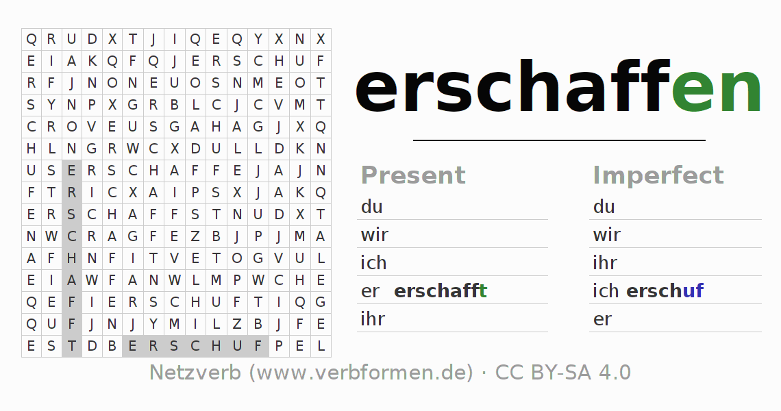 Word search puzzle for the conjugation of the verb erschaffen