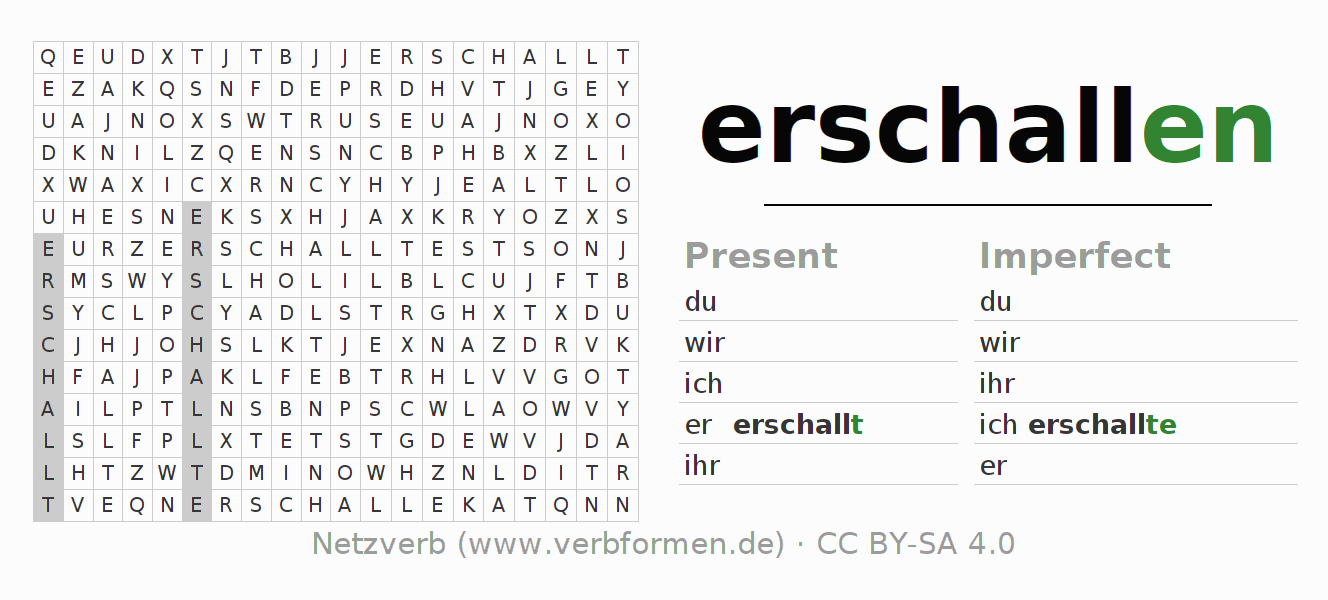 Word search puzzle for the conjugation of the verb erschallen (regelm)