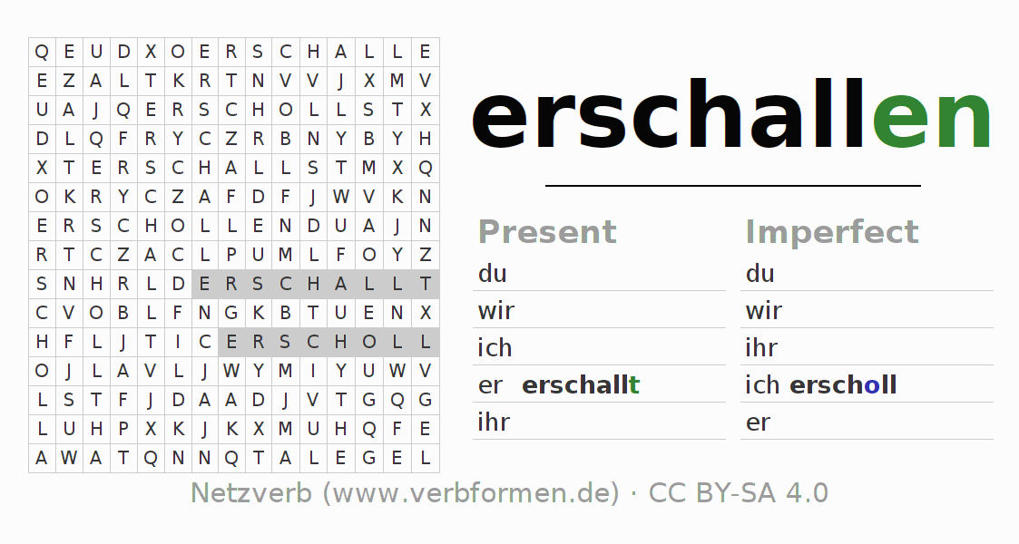 Word search puzzle for the conjugation of the verb erschallen (unr)