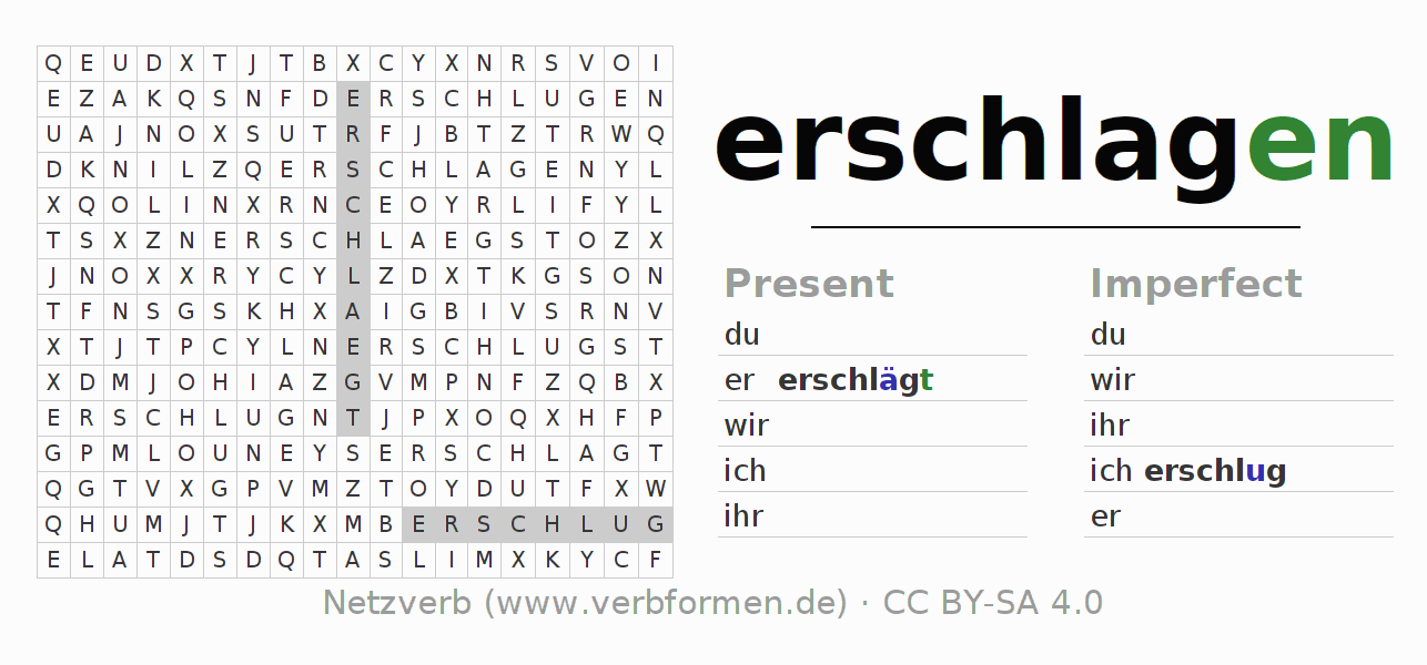 Word search puzzle for the conjugation of the verb erschlagen