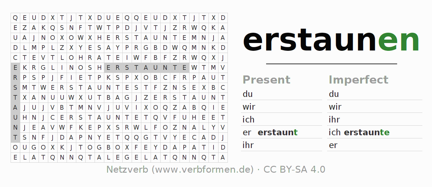 Word search puzzle for the conjugation of the verb erstaunen (ist)