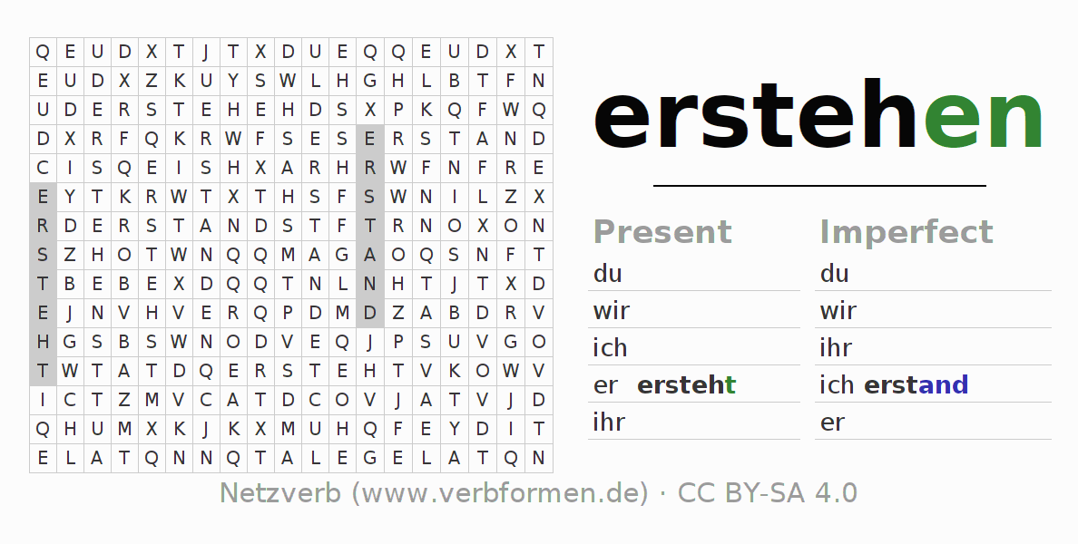 Word search puzzle for the conjugation of the verb erstehen (hat)