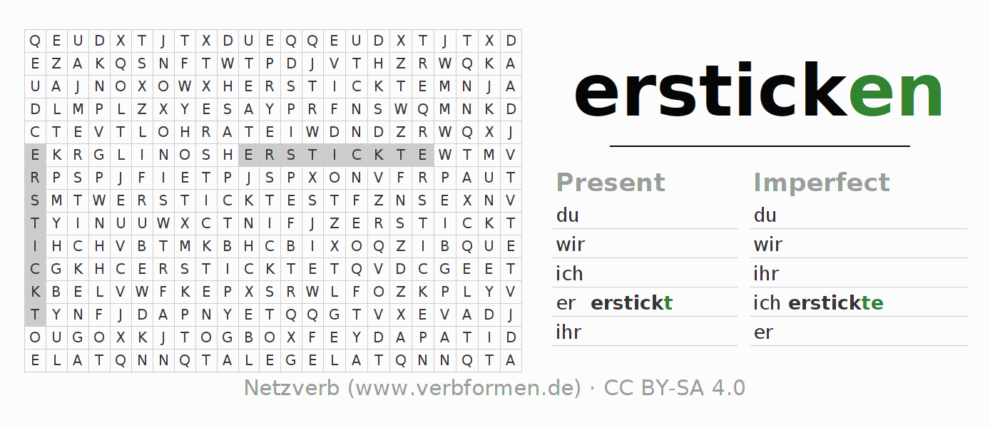 Word search puzzle for the conjugation of the verb ersticken (hat)