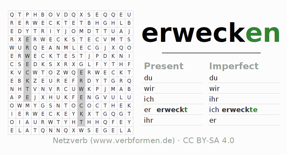 Word search puzzle for the conjugation of the verb erwecken