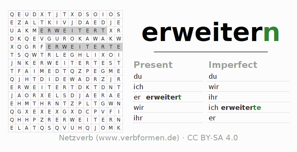 Word search puzzle for the conjugation of the verb erweitern