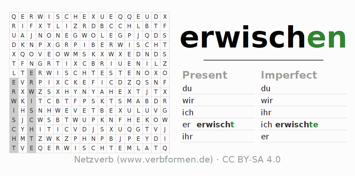 Word search puzzle for the conjugation of the verb erwischen