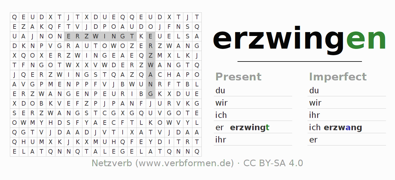 Word search puzzle for the conjugation of the verb erzwingen