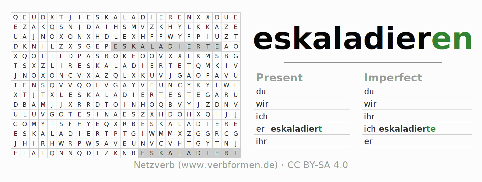 Word search puzzle for the conjugation of the verb eskaladieren
