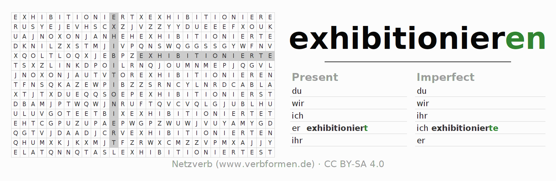 Word search puzzle for the conjugation of the verb exhibitionieren