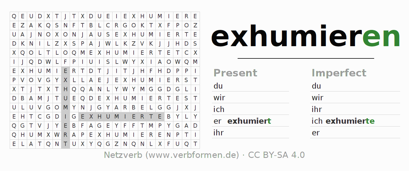 Word search puzzle for the conjugation of the verb exhumieren