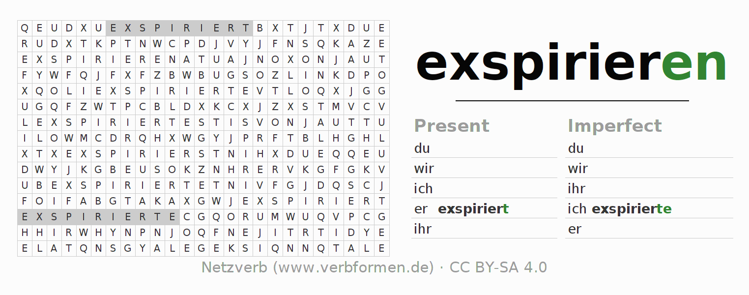 Word search puzzle for the conjugation of the verb exspirieren