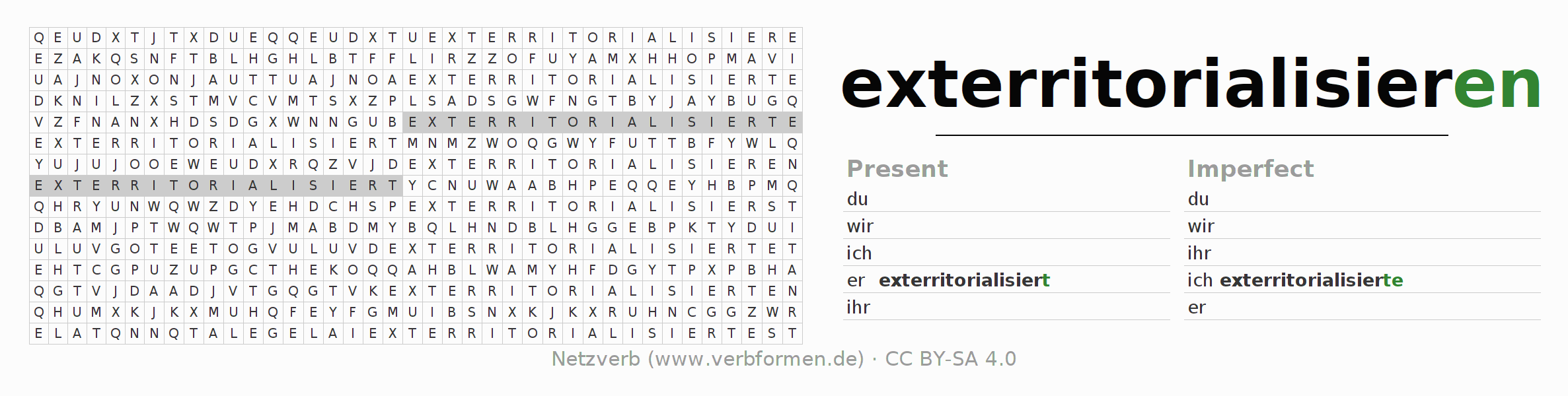 Word search puzzle for the conjugation of the verb exterritorialisieren